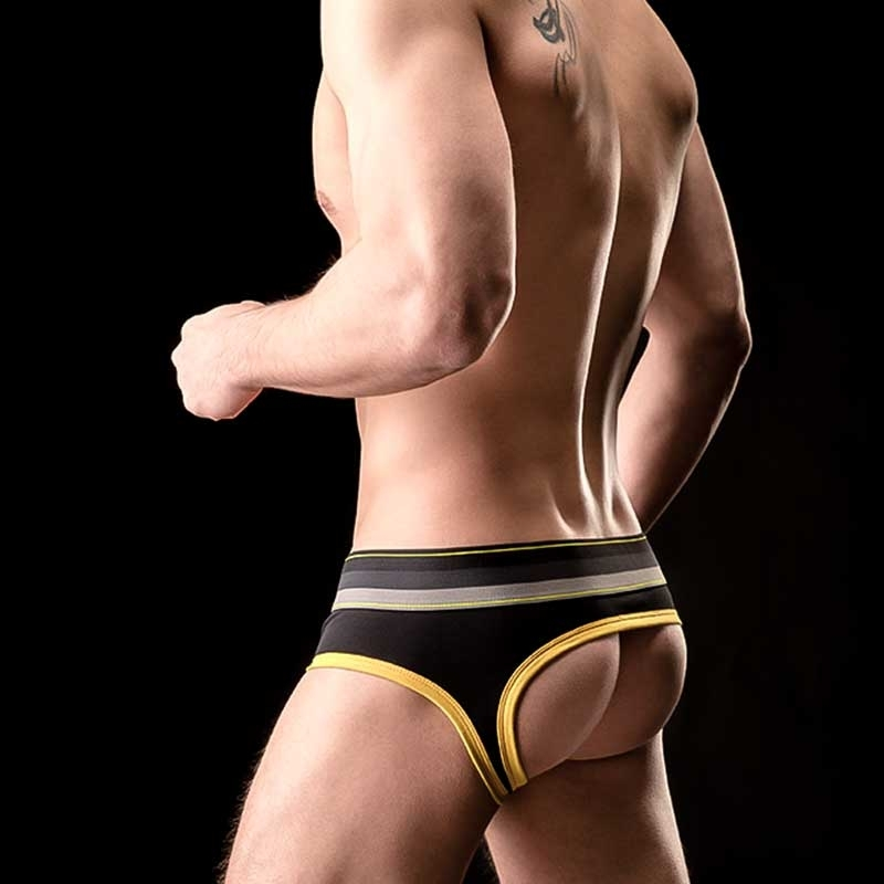 BARCODE Berlin BRIEF backless GUSTAVO mix 90814 HOLE streetwear black yellow