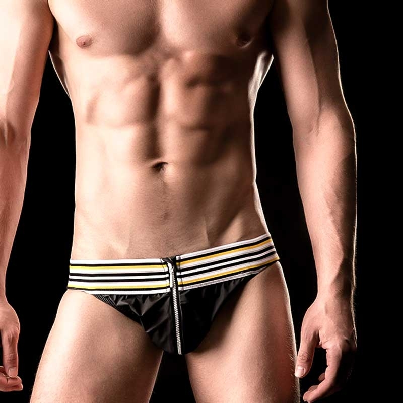 BARCODE Berlin JOCK WET kinky SASCHA swim 90867 zip night black yellow