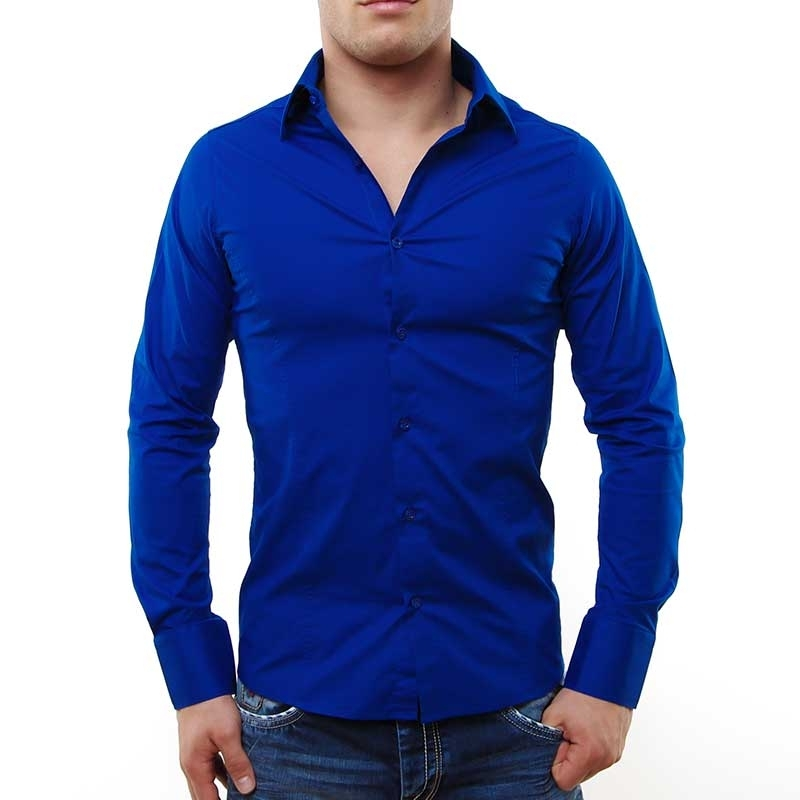 RED BRIDGE HEMD slim Fit R-2111 tailliert bodystyle saxblue