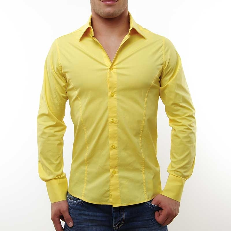 RED BRIDGE HEMD slim Fit R-2111 tailliert bodystyle yellow