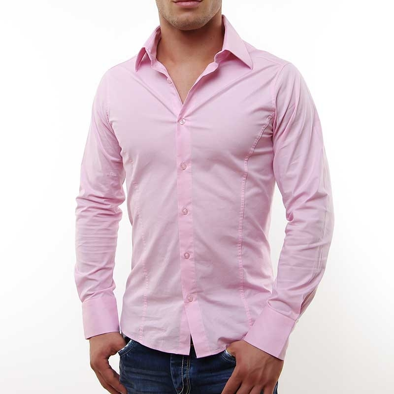 RED BRIDGE HEMD slim fit LOGAN tailliert R-2111 langarm bodystyle rosa