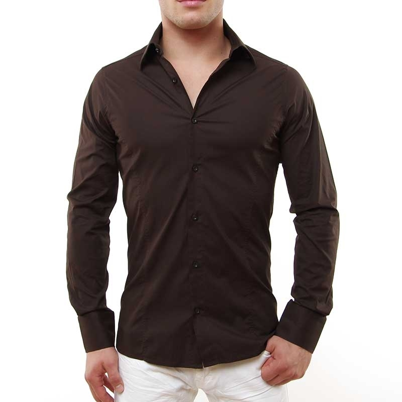 RED BRIDGE HEMD slim Fit R-2111 tailliert bodystyle brown