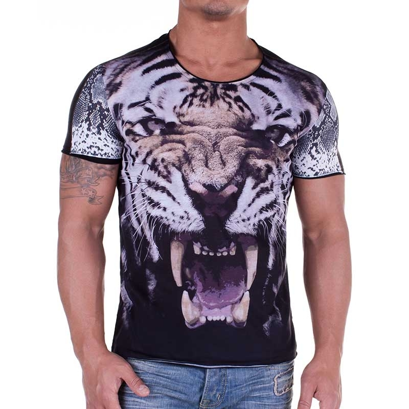 RED BRIDGE T-SHIRT slim Fit TIGER fight R41238 wild Look black
