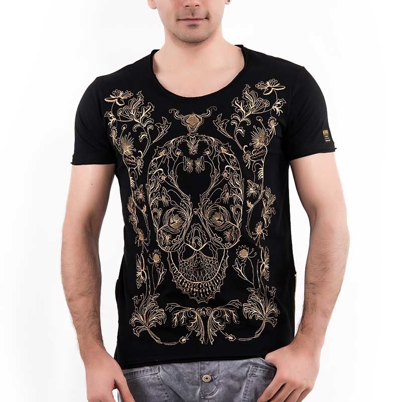 RED BRIDGE T-SHIRT regular SKULL gold M1018 Zip streetwear black