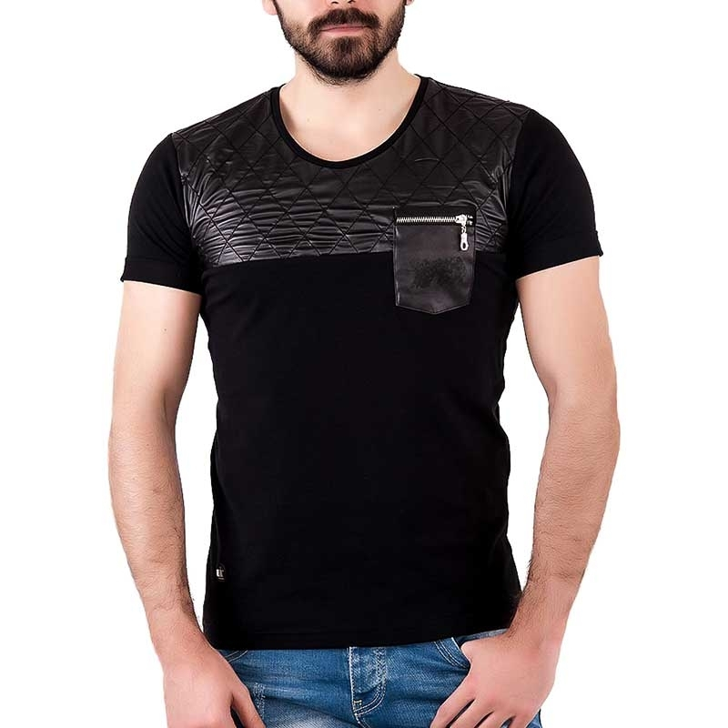 RED BRIDGE T-SHIRT slim ZACHARY stepp M1010 wet look black