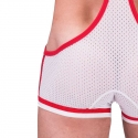 BARCODE Berlin BODY singlet SEVENTY 5 mesh 91166 WWE Wrestler white red