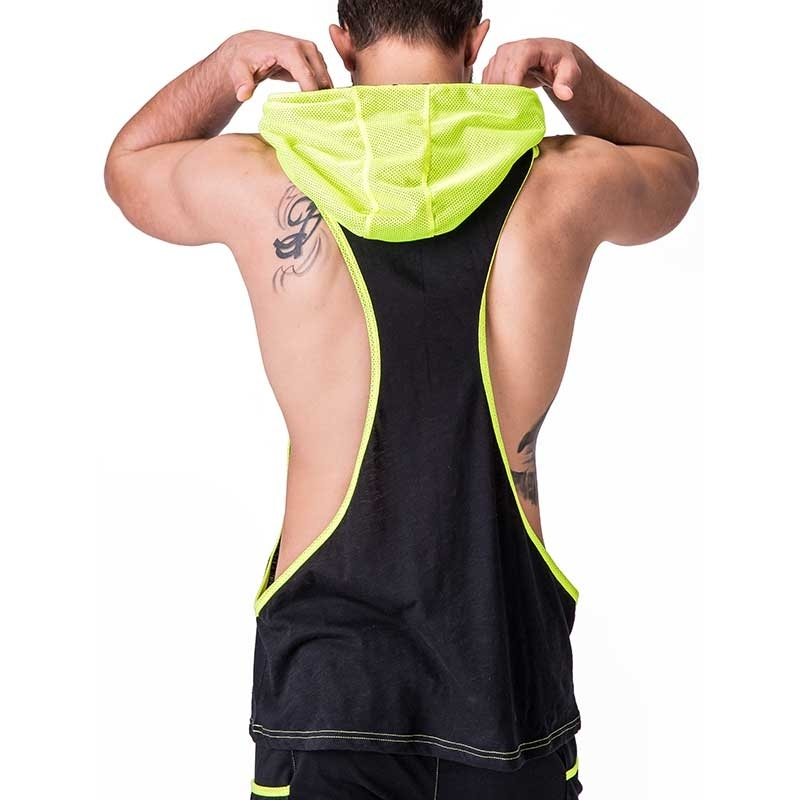 BARCODE Berlin STRING TANK fitness DALLAS player 91243 hoody neon mesh black