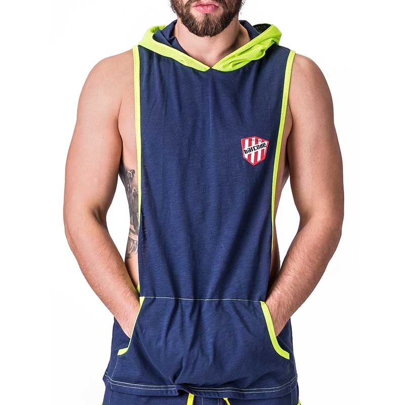 BARCODE Berlin STRINGTANK fitness DALLAS player 91243 hoodie neon mesh navy