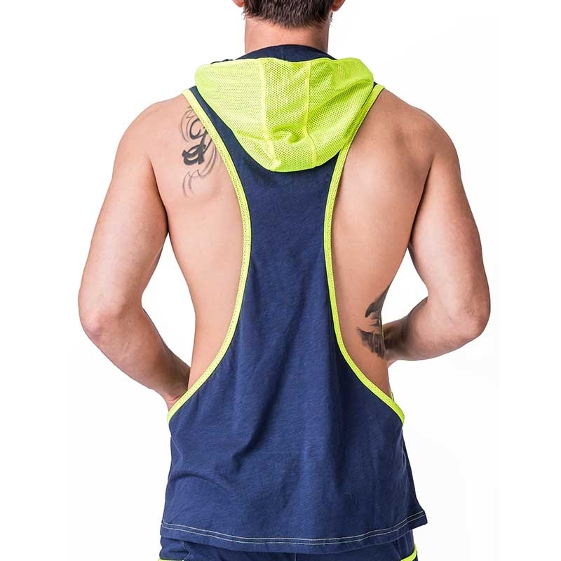BARCODE Berlin STRING TANK fitness DALLAS player 91243 hoody neon mesh navy