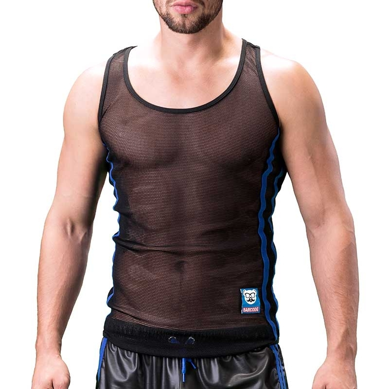 BARCODE Berlin TANK Top fitness COBY mesh 91133 bodystyle black blue