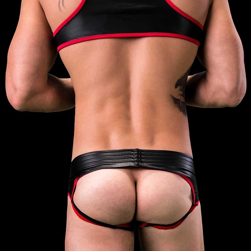 BARCODE Berlin BRIEF club BUM backless 91156 wetlook black redstyle