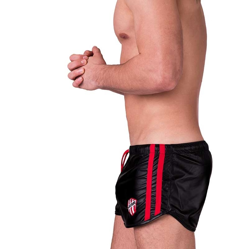 BARCODE Berlin SHORTS wet LABORATORY BYRON fight club 91157 shiny in black-red