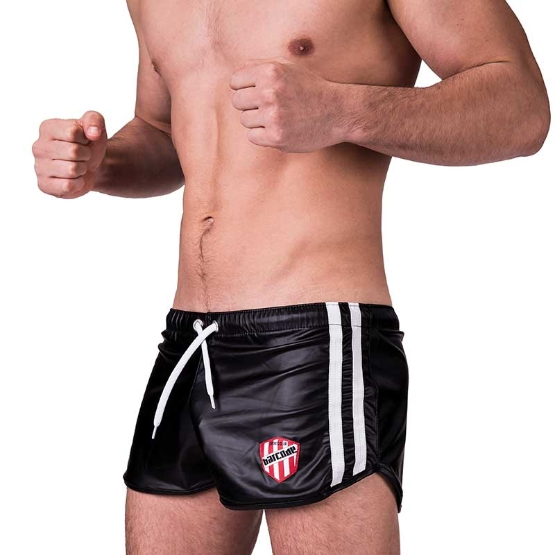 BARCODE Berlin SHORTS wet LABORATORY BYRON fight club 91157 shiny blackstyle white
