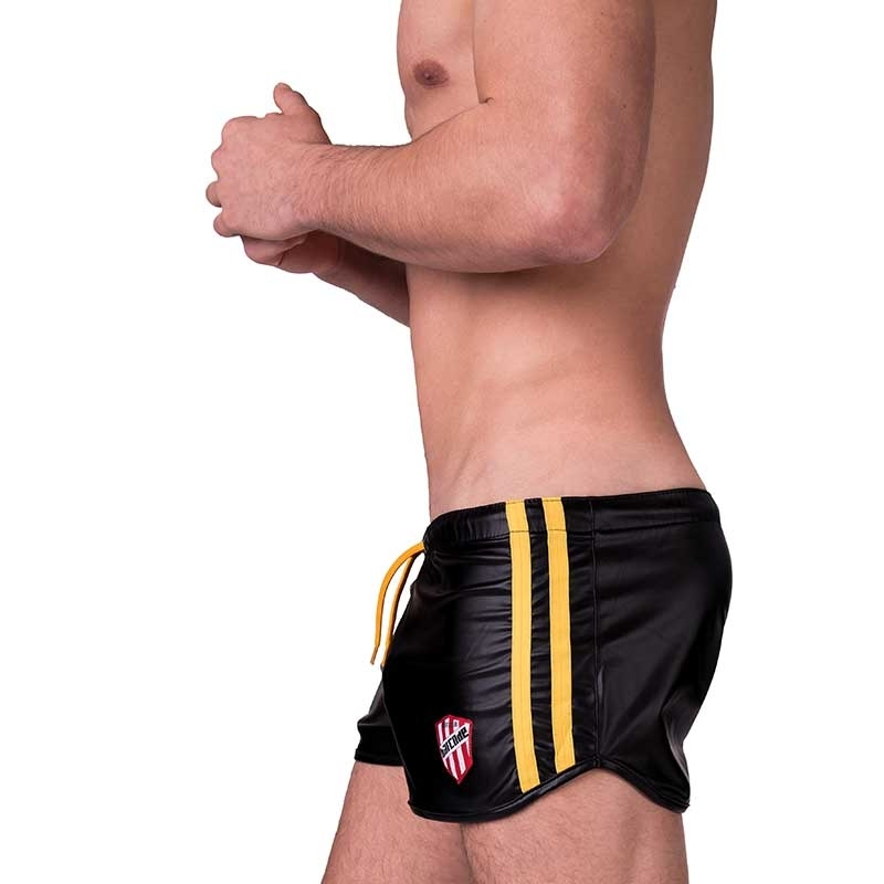 BARCODE Berlin SHORTS wet LABORATORY BYRON fight club 91157 shiny in black-yellow