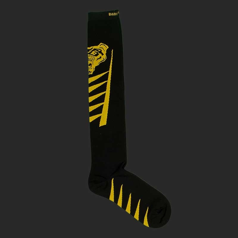 BARCODE Berlin KNIE STRUMPF football socken Lion Walk 91221 underground fight club black yellow