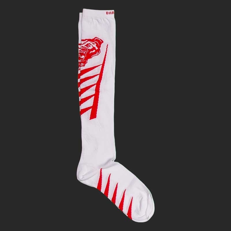 BARCODE Berlin KNIE STRUMPF football socken Lion Walk 91221 underground fight club white red