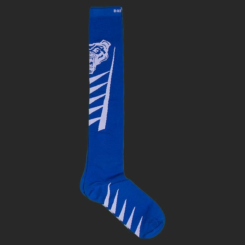 BARCODE Berlin KNIE STRUMPF football socken Lion Walk 91221 underground fight club blue white