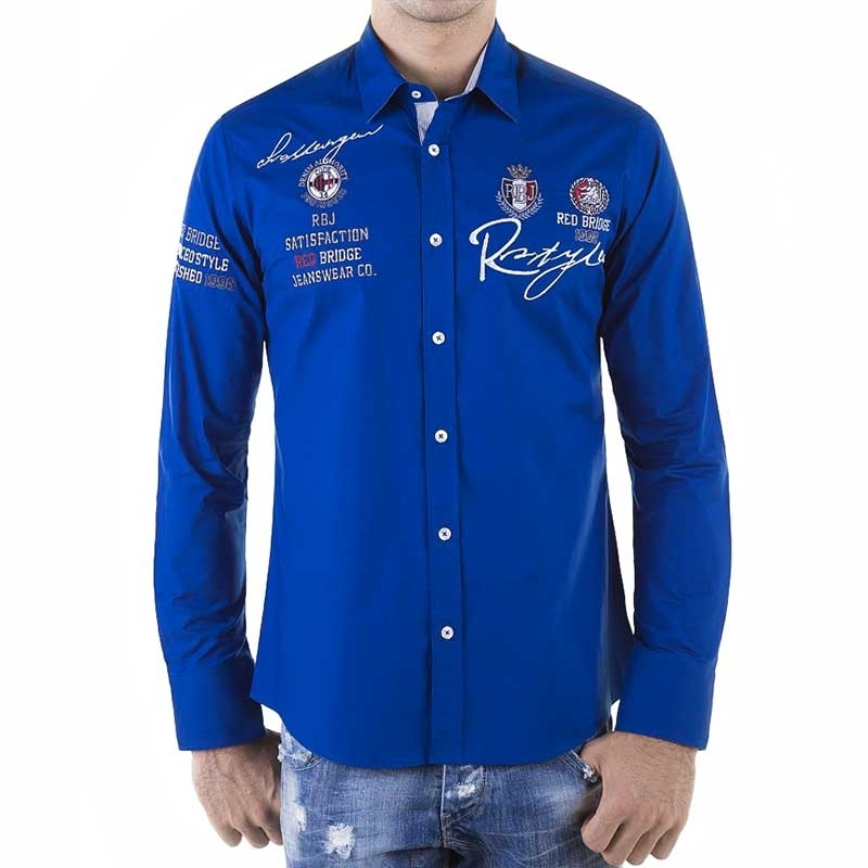 RED BRIDGE HEMD slim Fit R-2130 langarm tailliert bodystyle blue