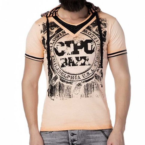 CIPO and BAXX T-SHIRT CT194 mit gestreifte Kapuze