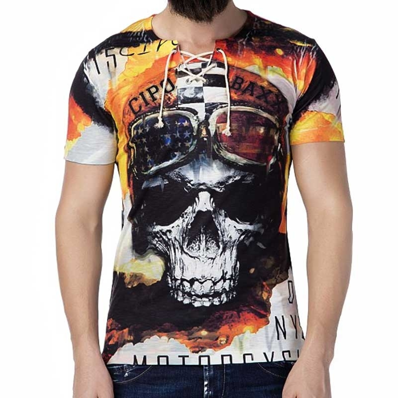 CIPO and BAXX T-SHIRT Regular Fit FIGHTER Skull CT195 Streetwear red