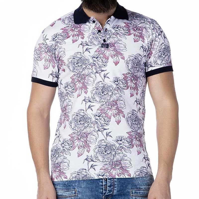 CIPO and BAXX T-SHIRT Regular Fit FLORAL Design CT199 Polo white