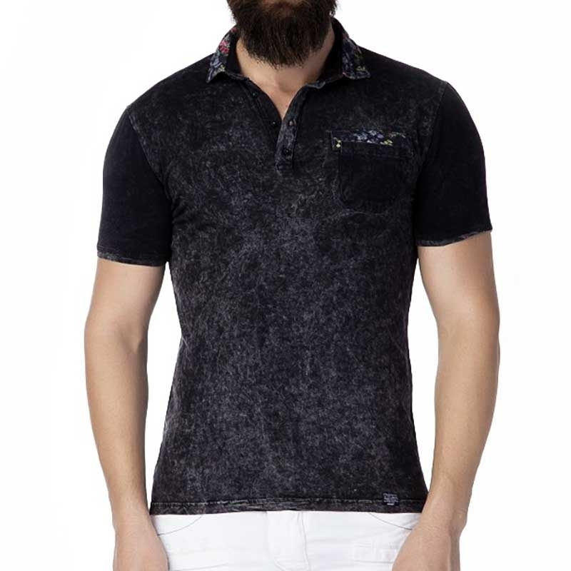 CIPO and BAXX T-SHIRT Regular Fit ADAM Floral CT245 Polo anthracite