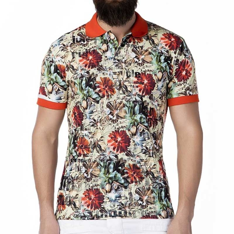 CIPO and BAXX T-SHIRT Regular Fit FLOWER Club CT262 Polo orange