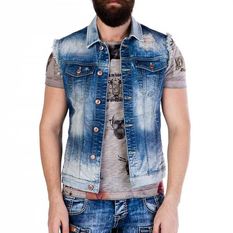 CIPO and BAXX VEST CW107 faded denim