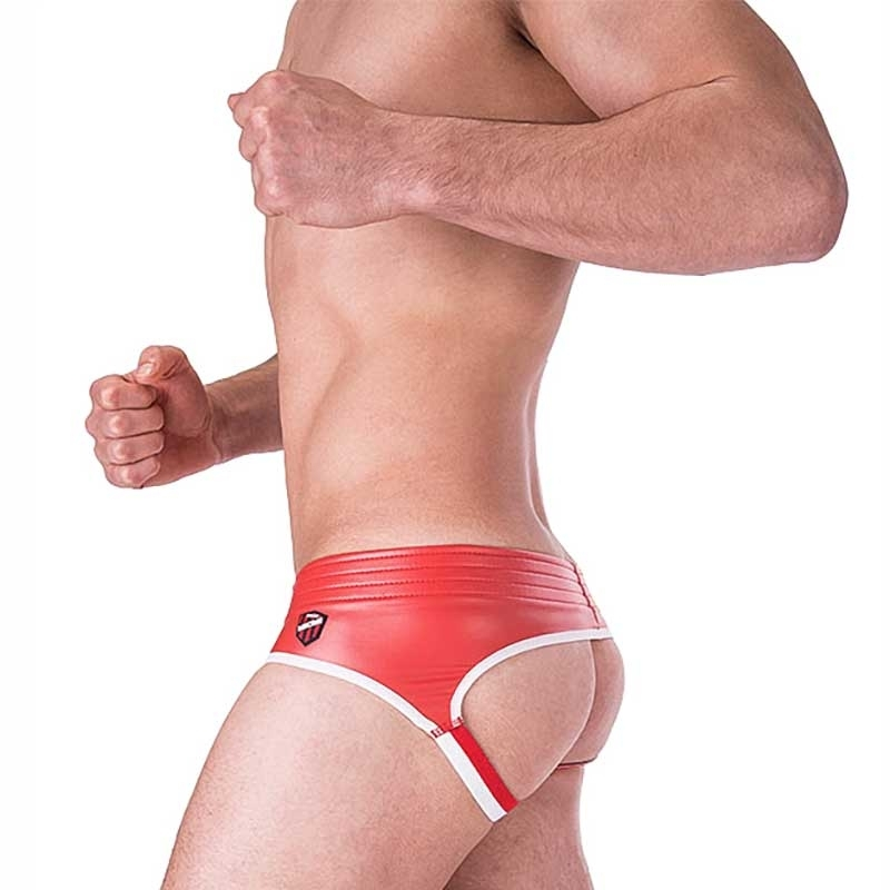 BARCODE Berlin BRIEF club BUM backless 91156 wetlook red-white