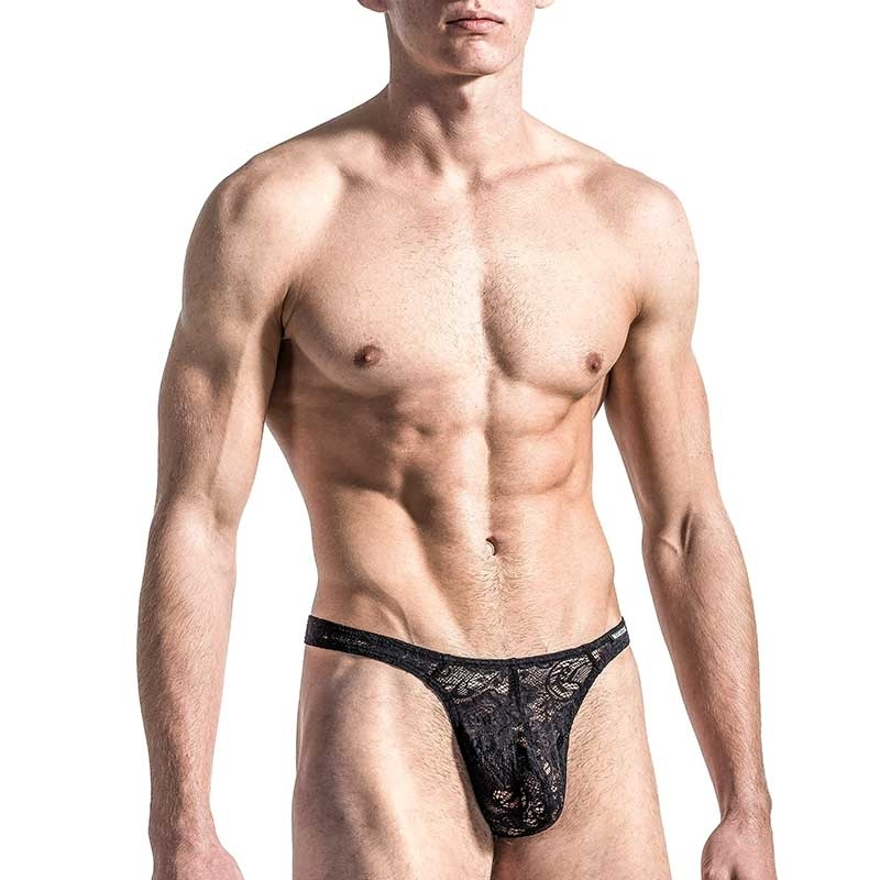 MANSTORE STRING Hot FLOWER LACE Sexy M566 Basic black