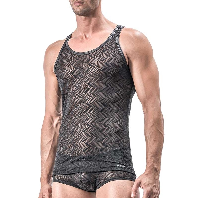 MANSTORE TANK Top Hot INDIAN Basic M552 Mesh black