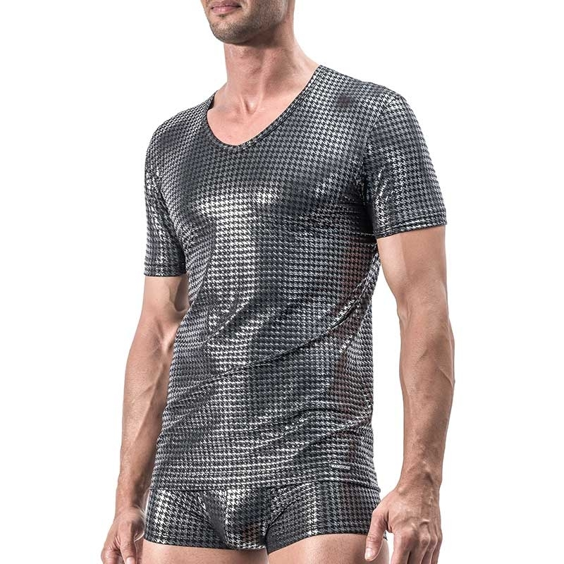MANSTORE T-SHIRT Hot SILVER CLUB Vichy M554 Party black
