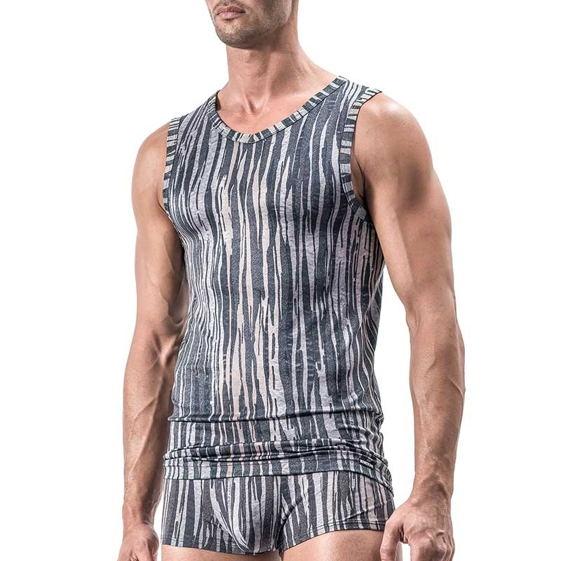 MANSTORE TANK Top Regular TIGER Gestreift M558 Sport grey