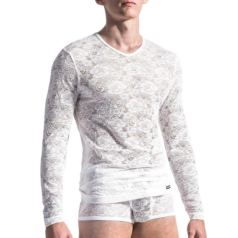MANSTORE T-SHIRT Hot FLOWER LACE Sexy M566 Mode white
