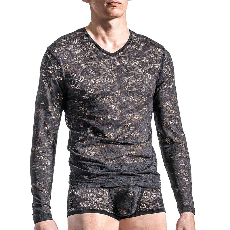 MANSTORE T-SHIRT Hot FLOWER LACE Sexy M566 Mode black