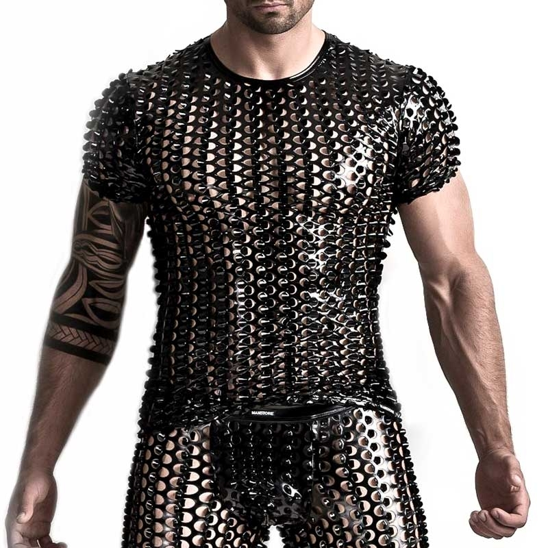 MANSTORE T-SHIRT Hot Short Arm REPTILE Wet Look M553 Fetish black