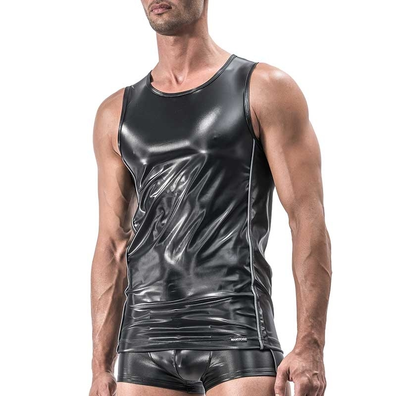 MANSTORE TANK Top Hot MIRROR Fetish M555 Wet Look black