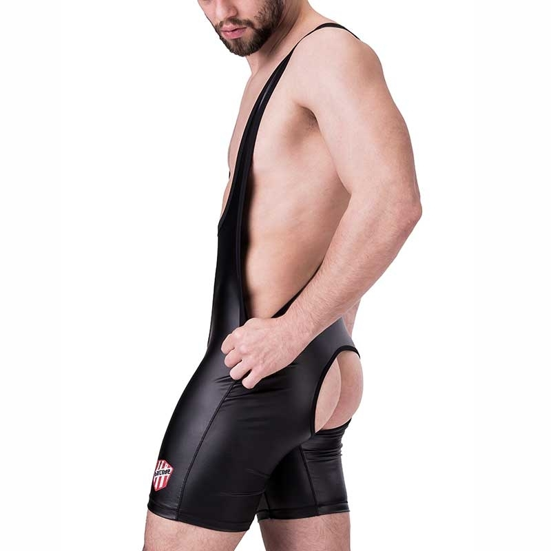 BARCODE Berlin BODY Slim SINGLET SAMY backless 91235 wetlook Leather black