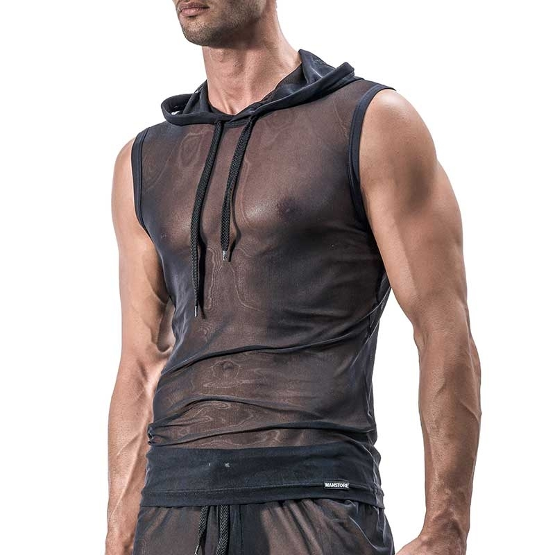 MANSTORE TANK Top Hot MESH SPORT Hoody M514 Club black