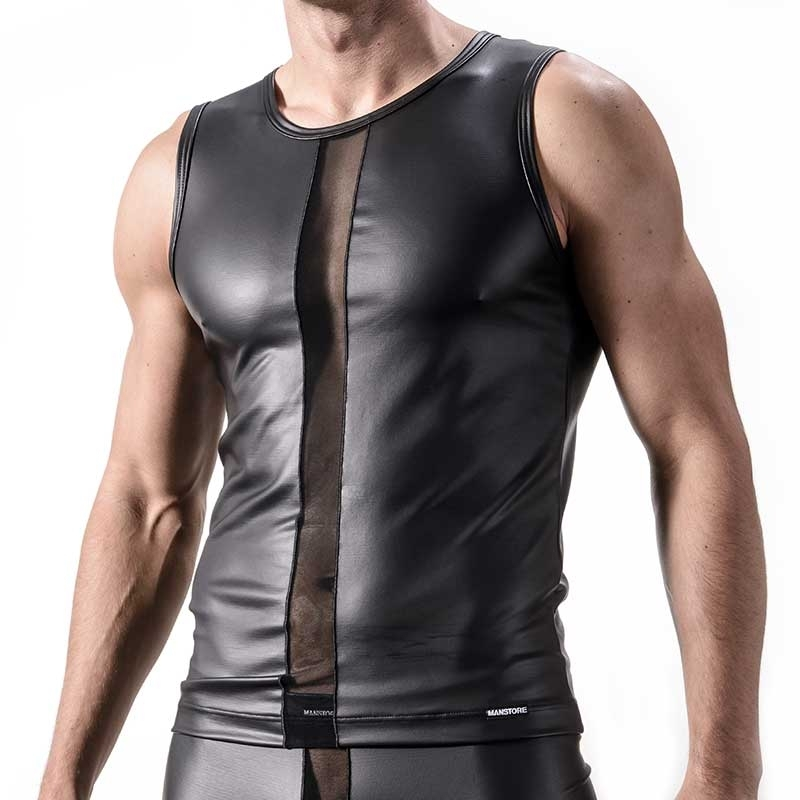 MANSTORE TANK Top Hot WET TANK Fetish M324 Mesh black