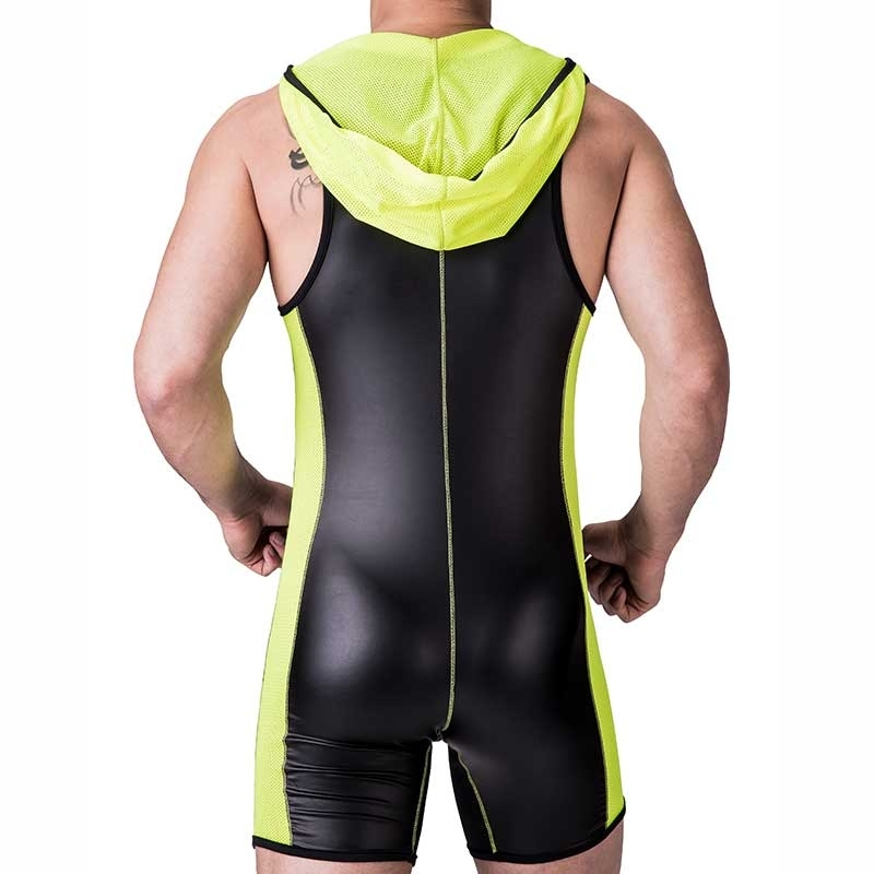 BARCODE Berlin BODY Slim SINGLET DEJAN Kapuze 91237 wetlook Leder black-neongreen