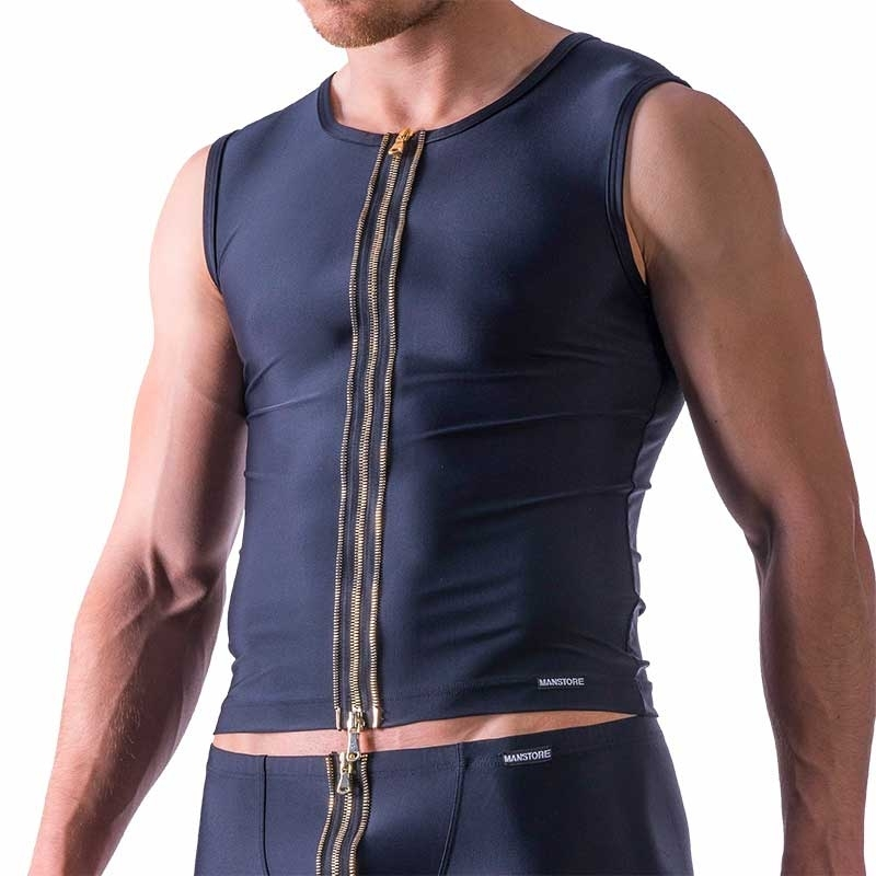 MANSTORE TANK Top hot FETISCH ZIPP S&M M524 Dungeon black