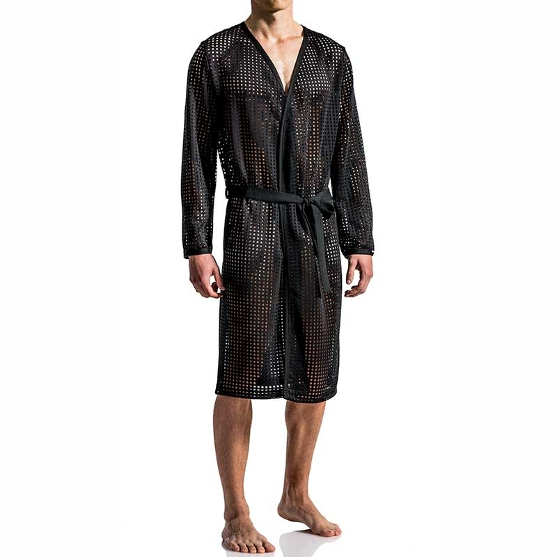 MANSTORE BADEMANTEL regular HERREN SAUNA Dampf M563 Wellness black