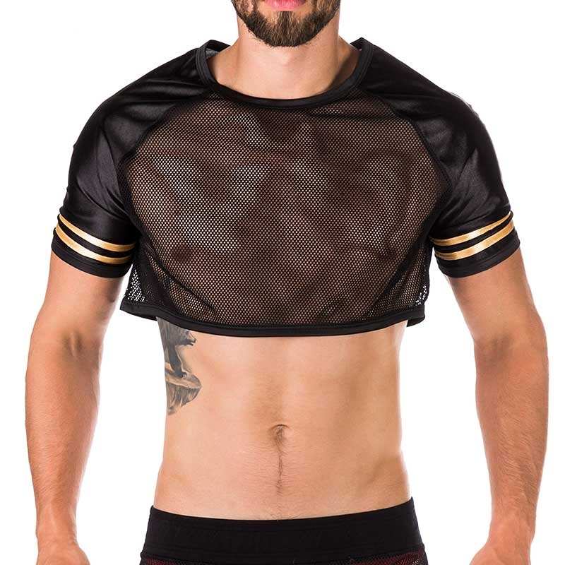 BARCODE Berlin T-SHIRT hot Mesh ARIAN Wetlook Fetisch 91285 American Football black-gold