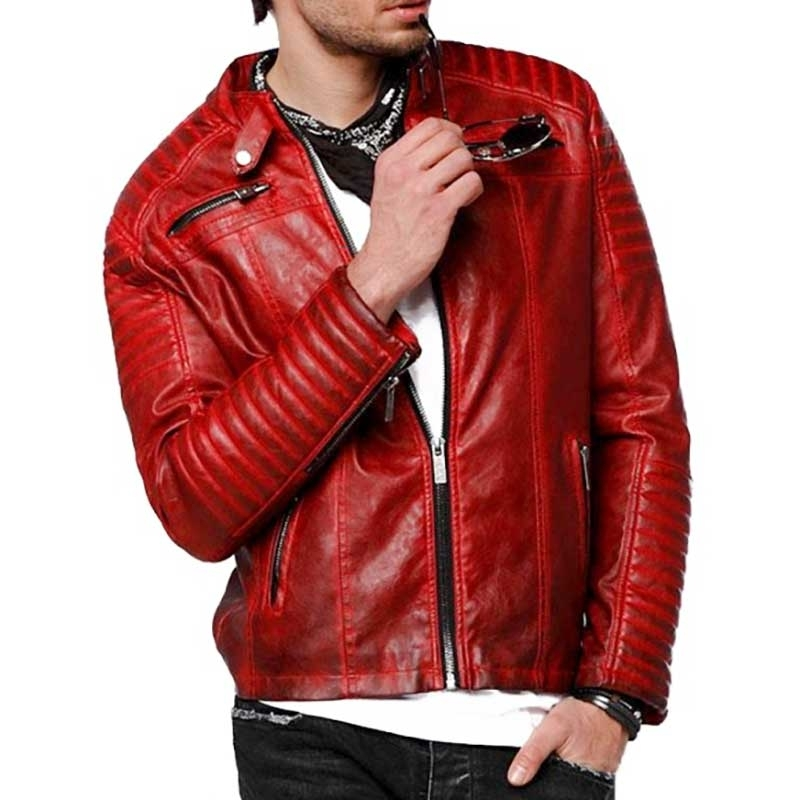 RED BRIDGE KUNSTLEDER JACKE modern RED ROCKET Motorrad M6028 Stark Qualitaet red
