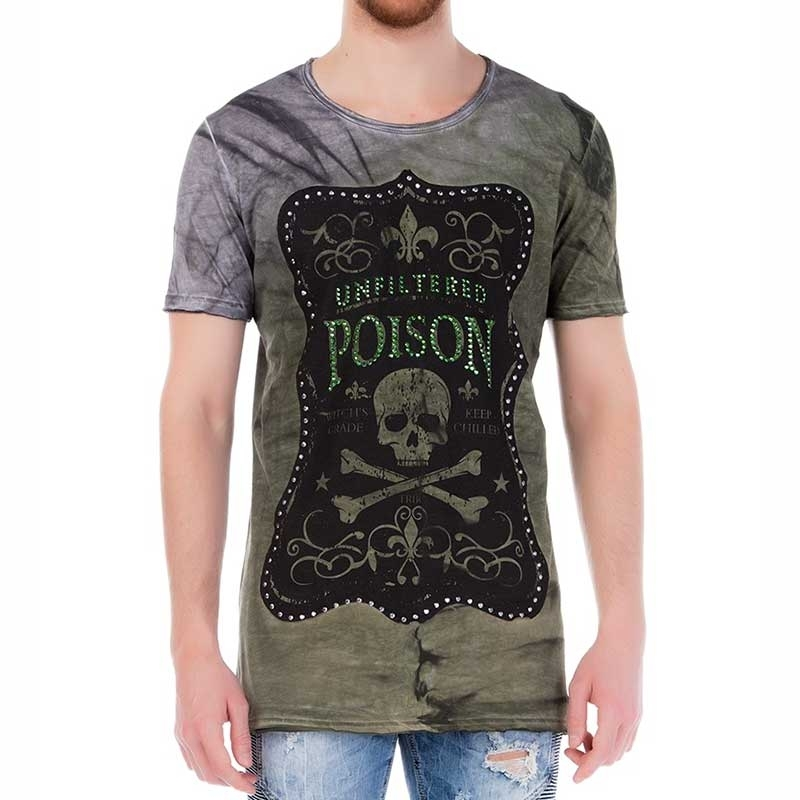 RED BRIDGE T-SHIRT regular UNFILTERED POISON Totenkopf M1104 Glitzer Print green