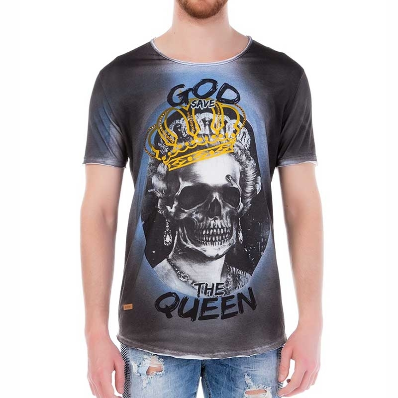 RED BRIDGE T-SHIRT regular GOD SAVE THE QUEEN Totenkopf M1103 Glitzer Punk indigo