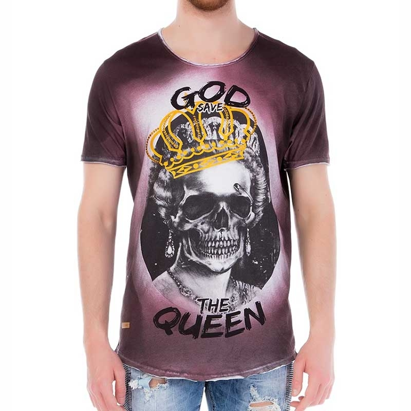 RED BRIDGE T-SHIRT regular GOD SAVE THE QUEEN Totenkopf M1103 Glitzer Punk bordeaux