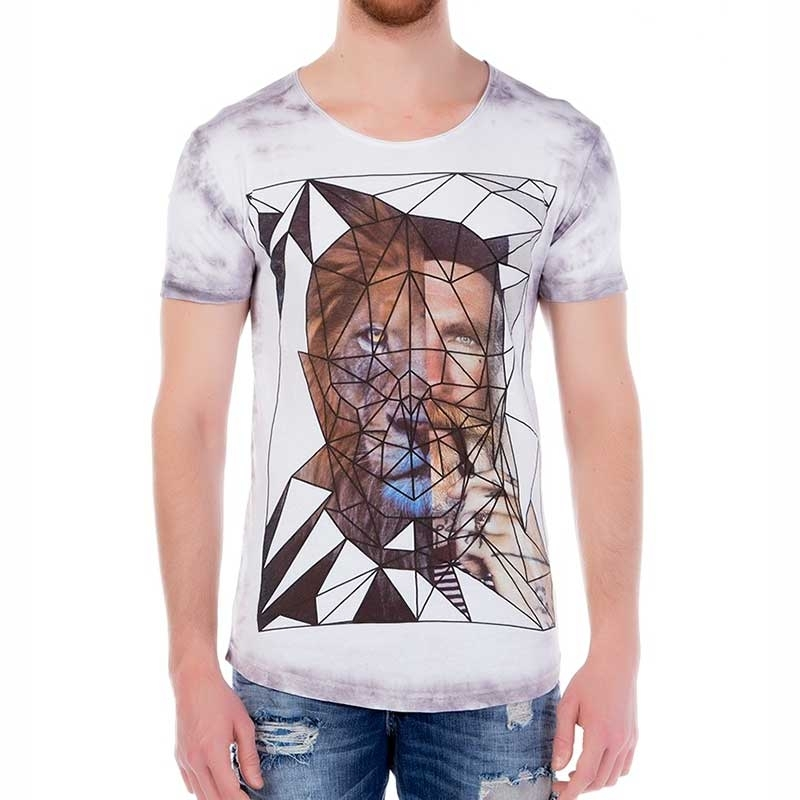RED BRIDGE T-SHIRT regular GEOMETRISCH SPHINX Style M1098 Kirchenfensterglas white-grey