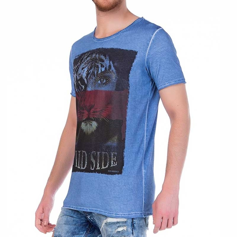 RED BRIDGE T-SHIRT regular WILD SIDE Tiger M1095 Vintage Glitzer Print blue